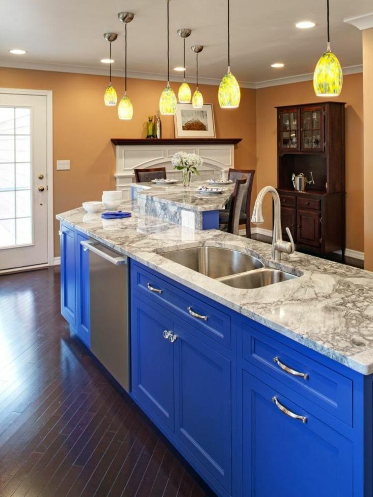 isla cocina azul encimera marmol