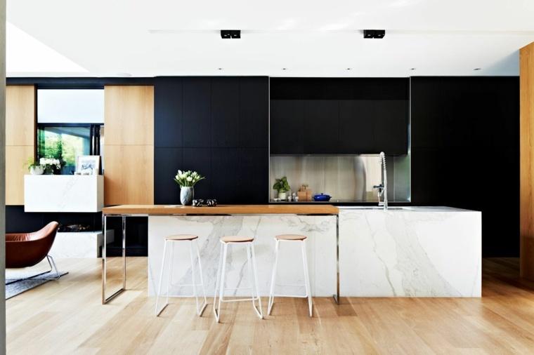 isla cocina blanca madera gabinetes negros ideas