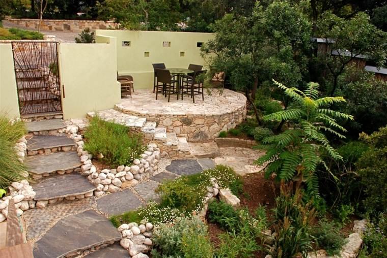 jardin aterrazado piedra naturales