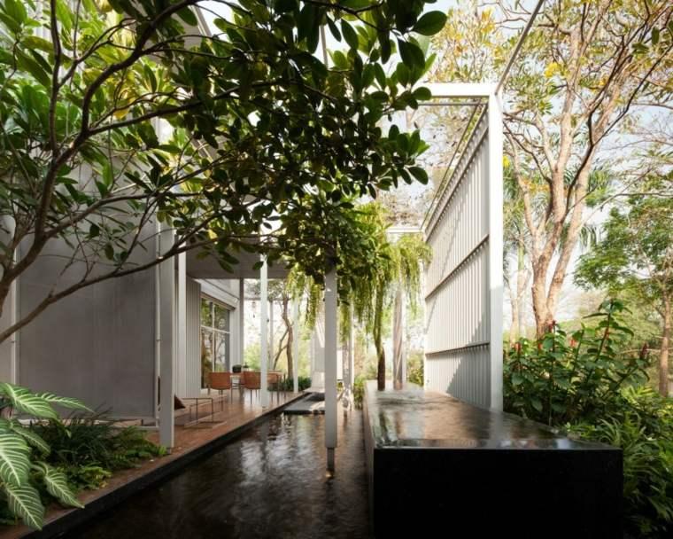 jardin estanque diseno moderno espacio pequeno ideas