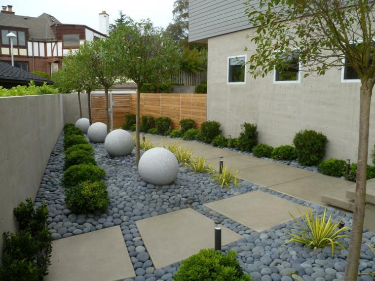 jardin estilo moderno decorado piedras