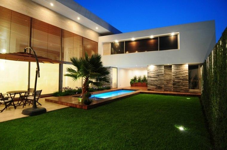 jardin piscina diseño moderno