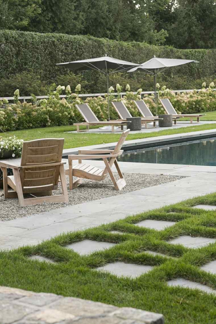 jardin piscina diseno moderno sillas