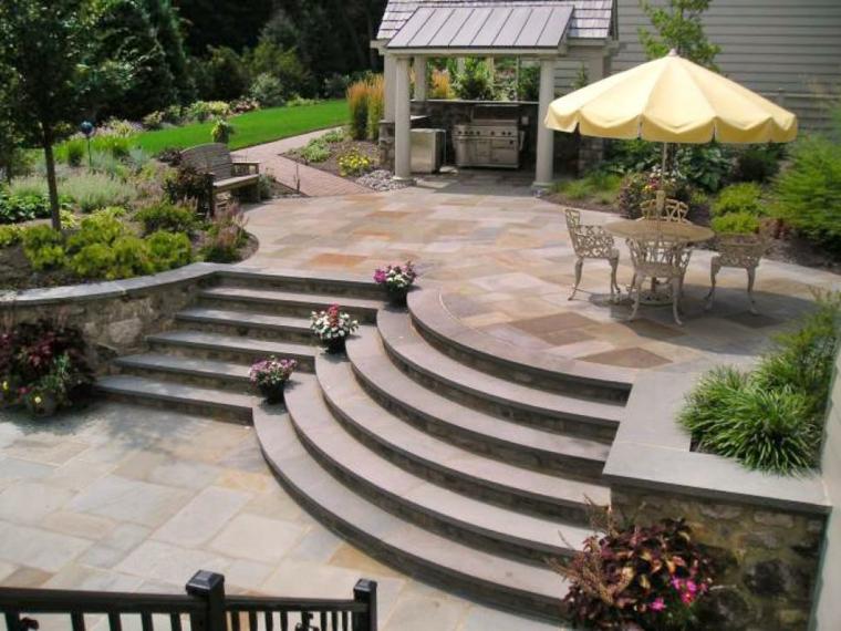 jardin terraza cocina pergola escaleras