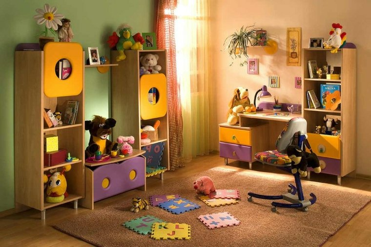 juegos diarios cuarto nino opciones diseno muebles coloridos ideas