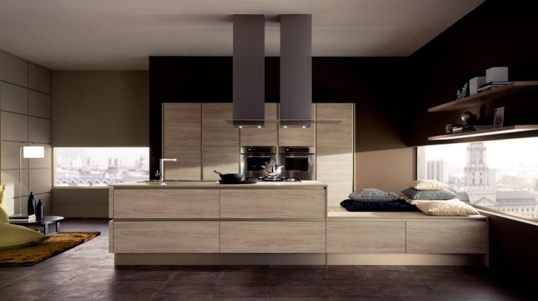 la madera cocina diseno muebles isla moderno ideas