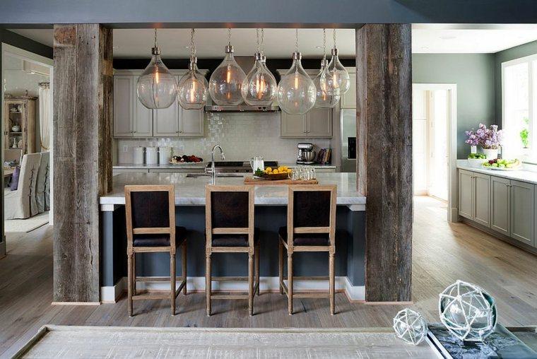 la madera diseno cocina columnas atractivas madera ideas