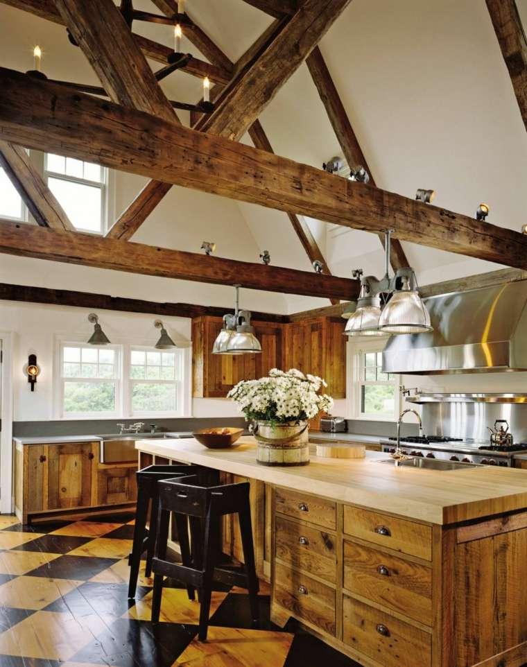 la madera diseno cocina diseno estilo rustico ideas