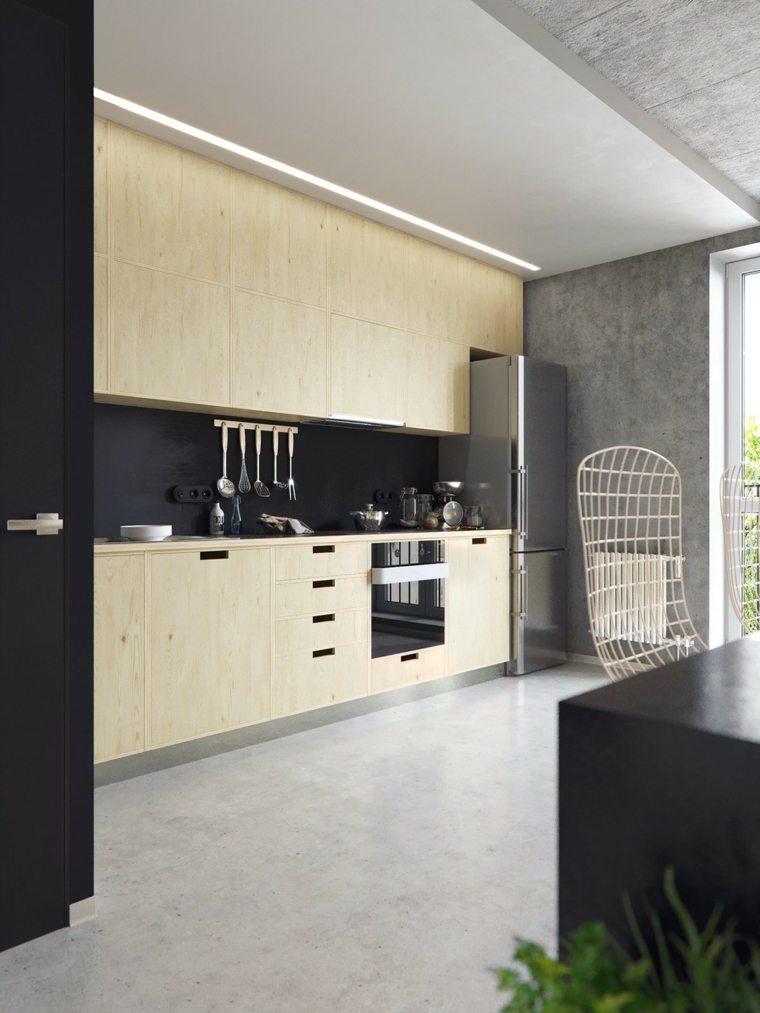 la madera diseno cocina gabinetes madera color claro ideas
