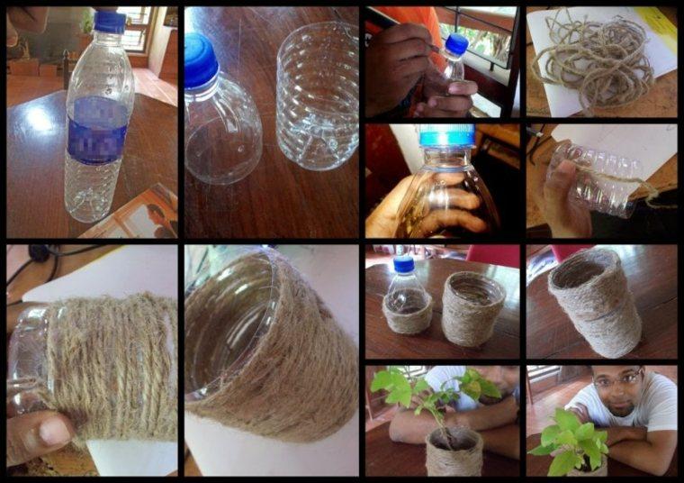 manualidades con cuerda estupendas jarra