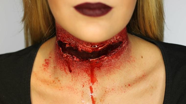 maquillaje cuello degollado ensangrentado