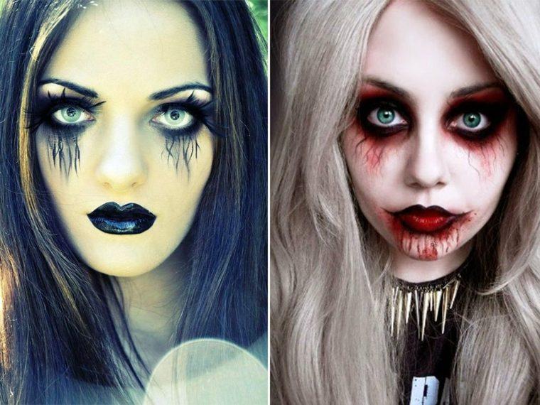 maquillaje de halloween para mujer dos variantes