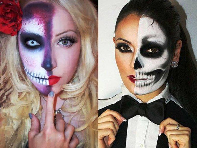 maquillaje de halloween para mujer media cara