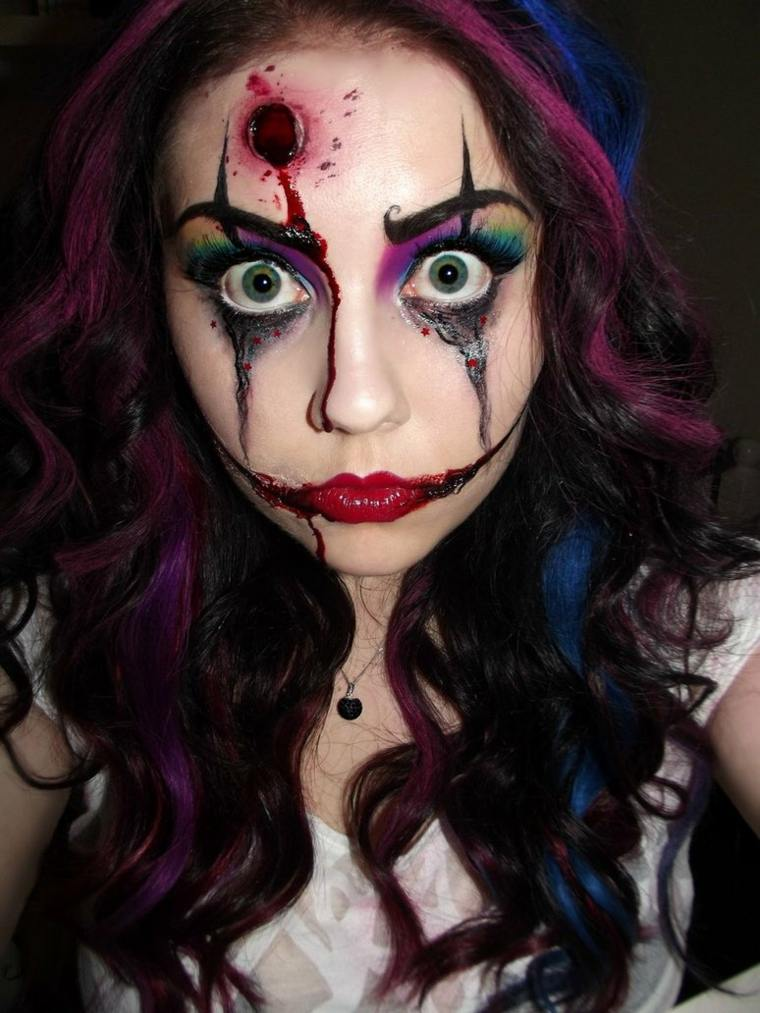 maquillaje de halloween para mujer payaso