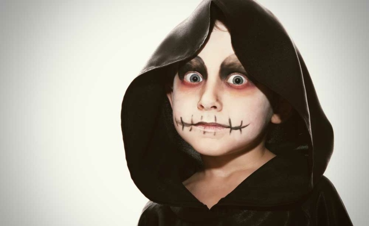 maquillaje de halloween para niños costura