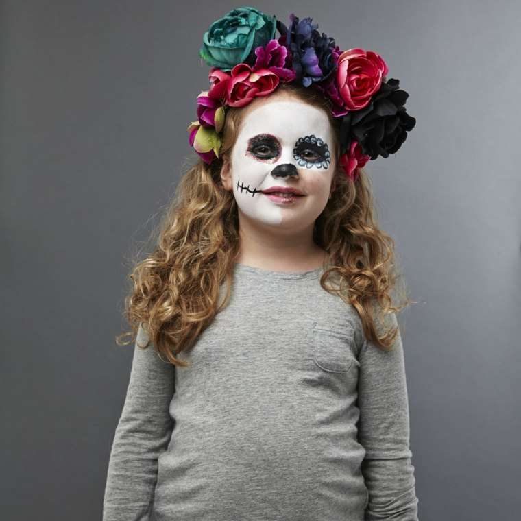 maquillaje de halloween para niños flores