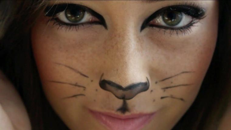 maquillaje de halloween para niños gato