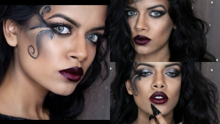 maquillaje original de ojos para halloween maquillaje en negro diferente