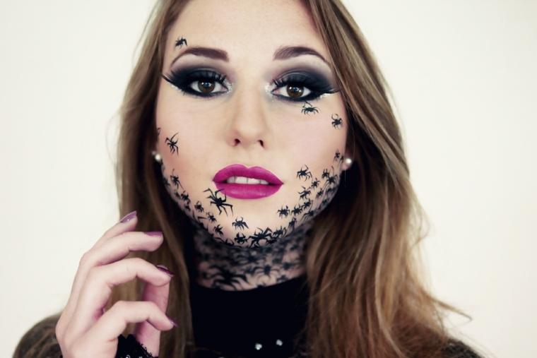 maquillajes de halloween arañas cara