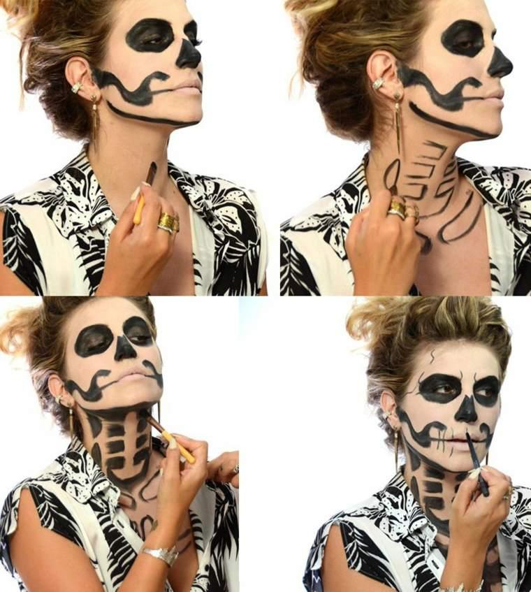 maquillaje halloween instrucciones esqueleto