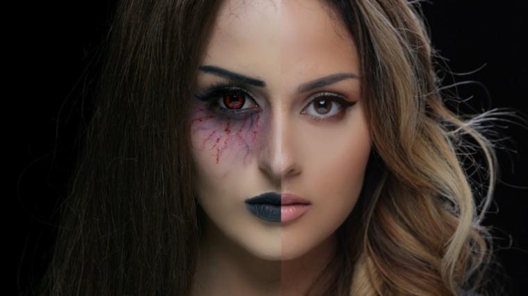 maquillaje halloween mitad cara