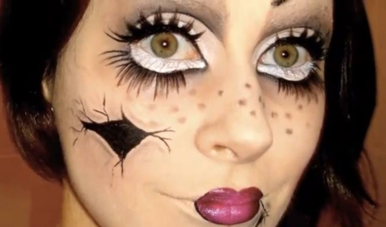 maquillaje halloween muñeca