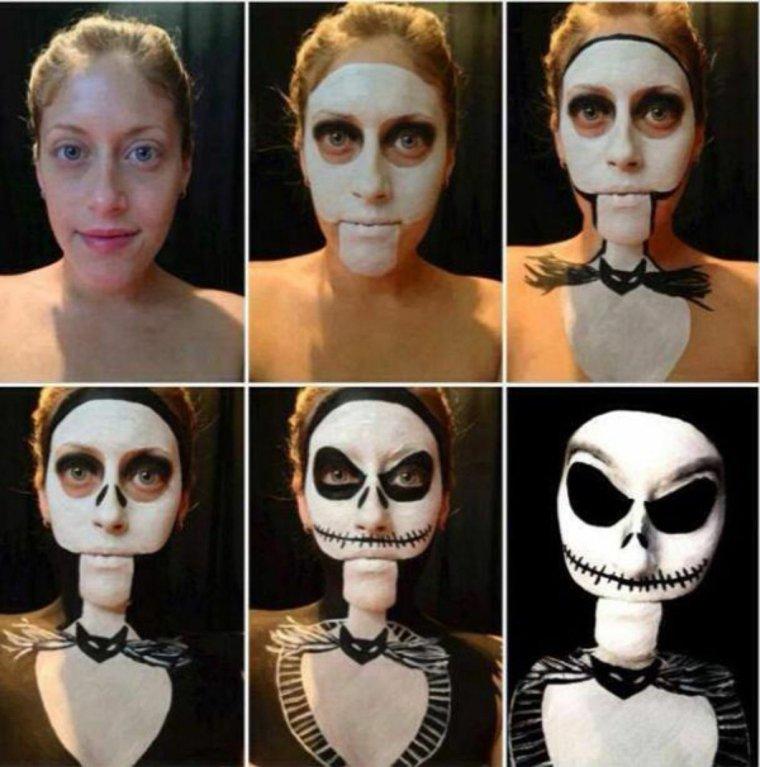 maquillaje halloween pinturas esqueleto