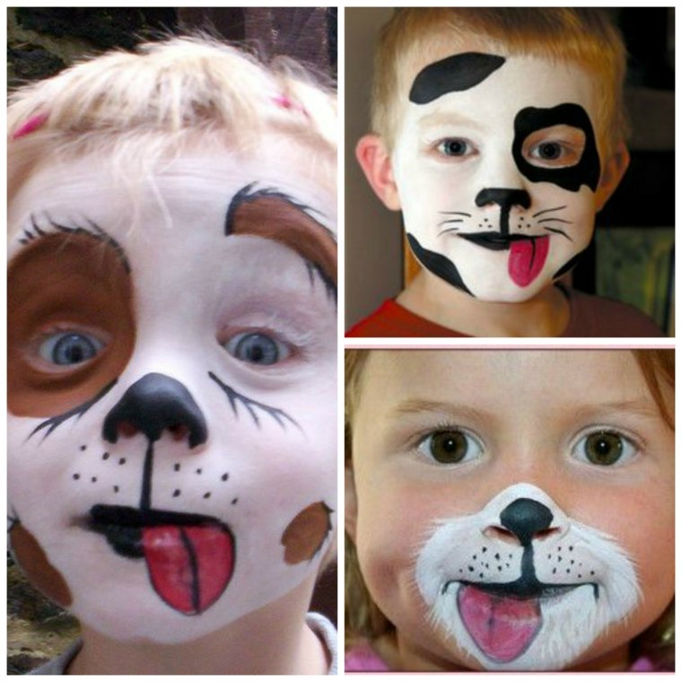 maquillaje infantil de halloween perro