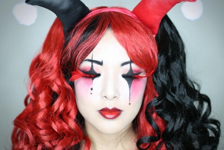 maquillaje original para halloween harley quinn
