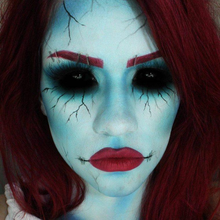 maquillaje para halloween fácil azul