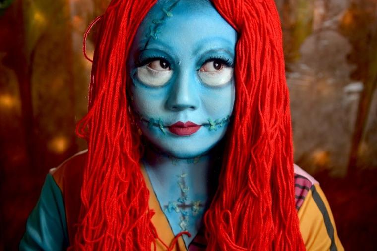maquillaje sencillo para halloween azul