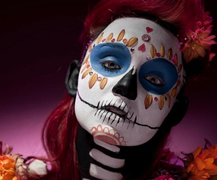 maquillajes de Halloween opciones calaveras diseno colores ideas