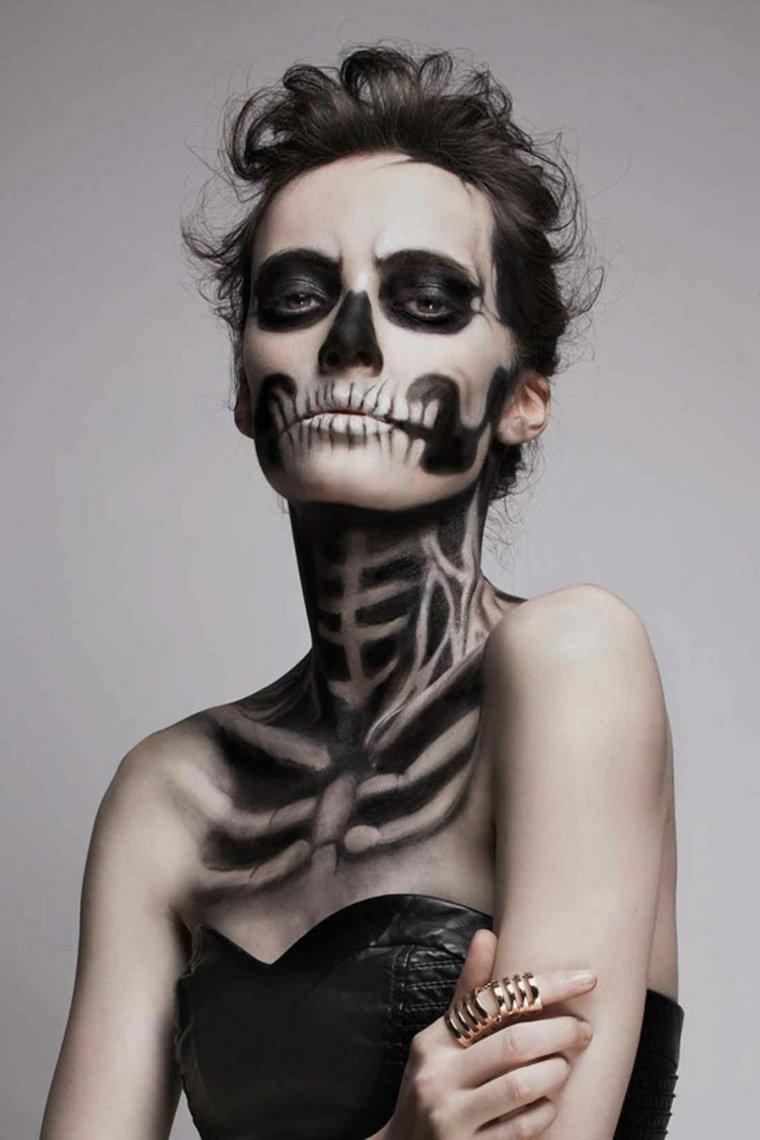 maquillajes de Halloween opciones esqueletos mujer ideas