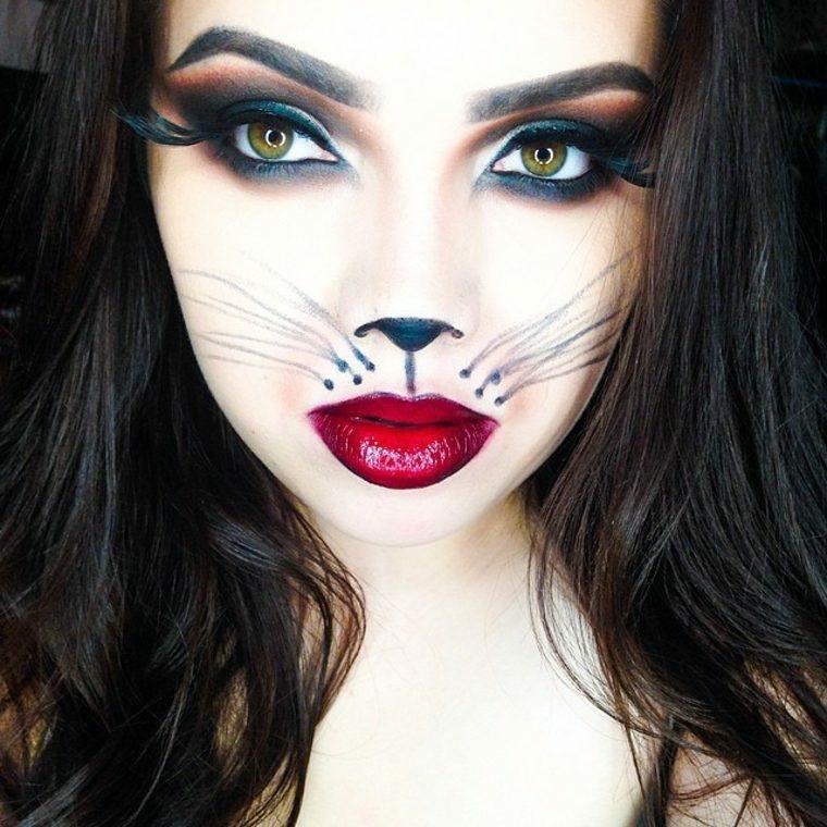 maquillajes de Halloween opciones gatita mujeres ideas