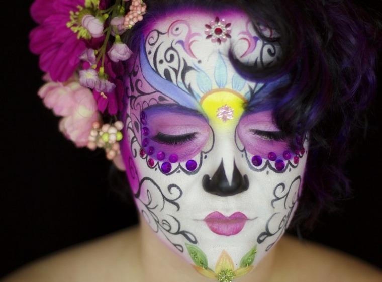 maquillajes Halloween opciones motivos flores colores ideas