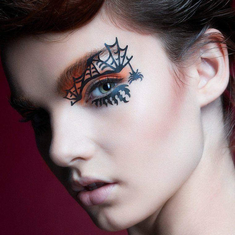 maquillajes Halloween opciones telarana ideas