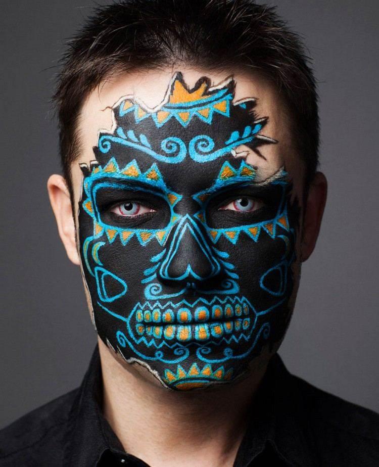 maquillajes esqueletos lineas caras parcial