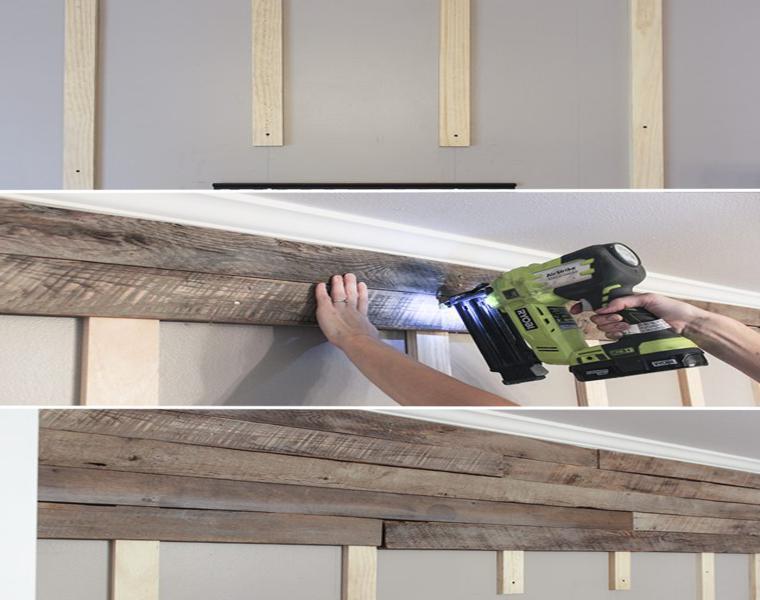 medir colocar listones madera palet pared