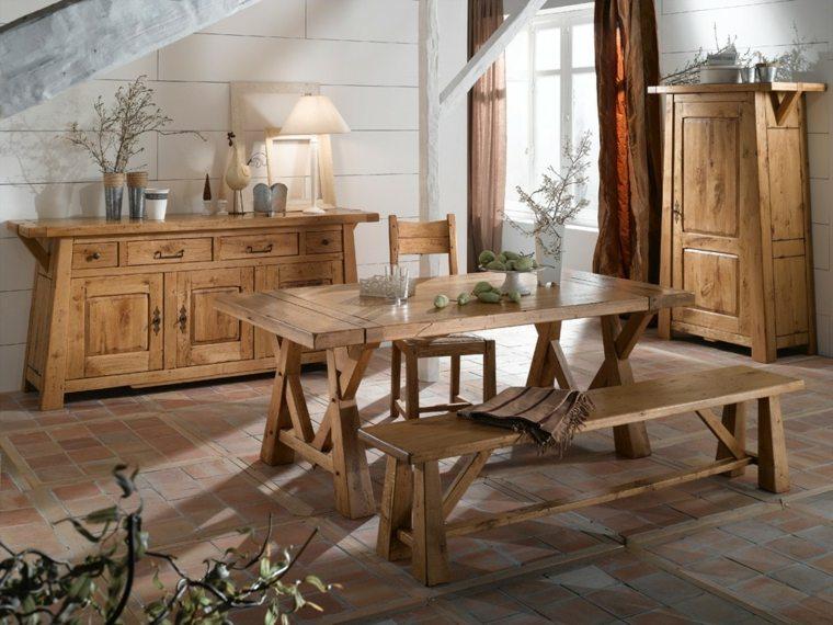 mesas-de-madera-acento-rustico-comedor-banco-madera-natural