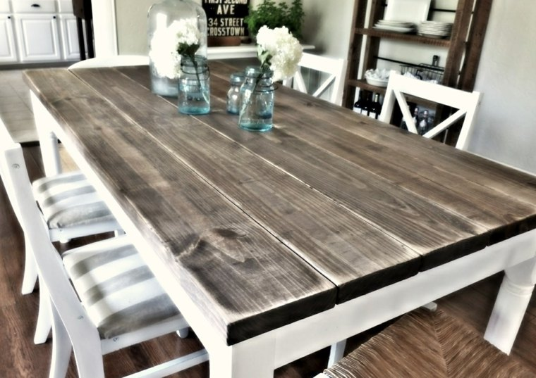 mesas de madera acento rustico comedor blanco pintura ideas