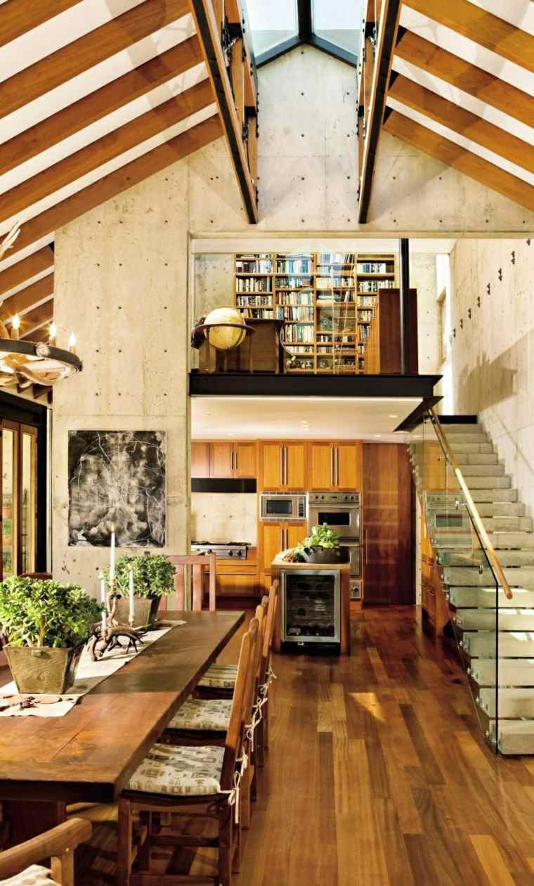 mesas madera acento rustico comedor casa techo alto ideas