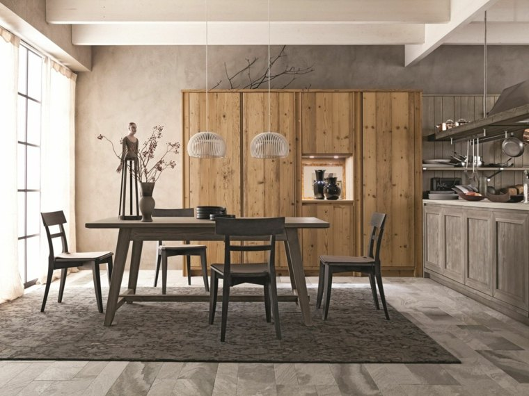 mesas de madera acento rustico comedor cocina comparten espacio ideas