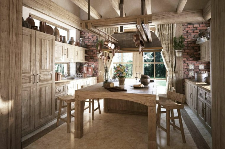 mesas de madera acento rustico comedor diseno tradicional ideas