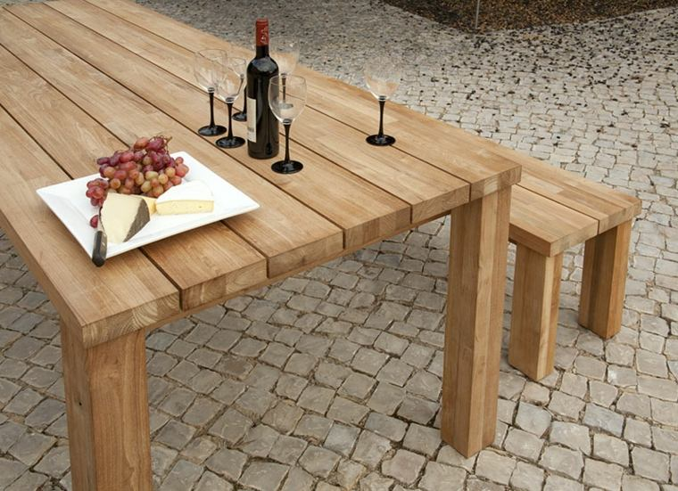 Mesas de madera un acento r stico para el comedor - Mesas de exterior de madera ...