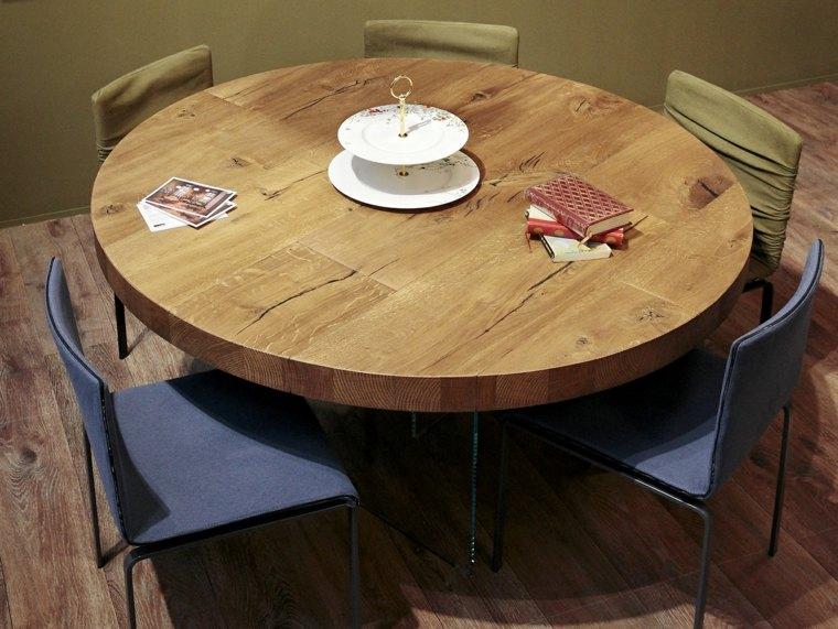 mesas de madera acento rustico comedor forma circular ideas