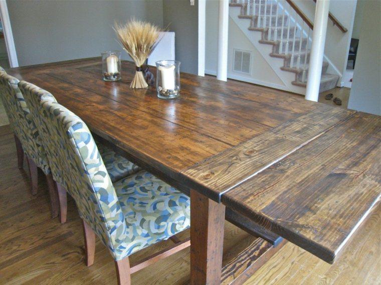 mesa de madera acento rustico comedor grande lacada ideas