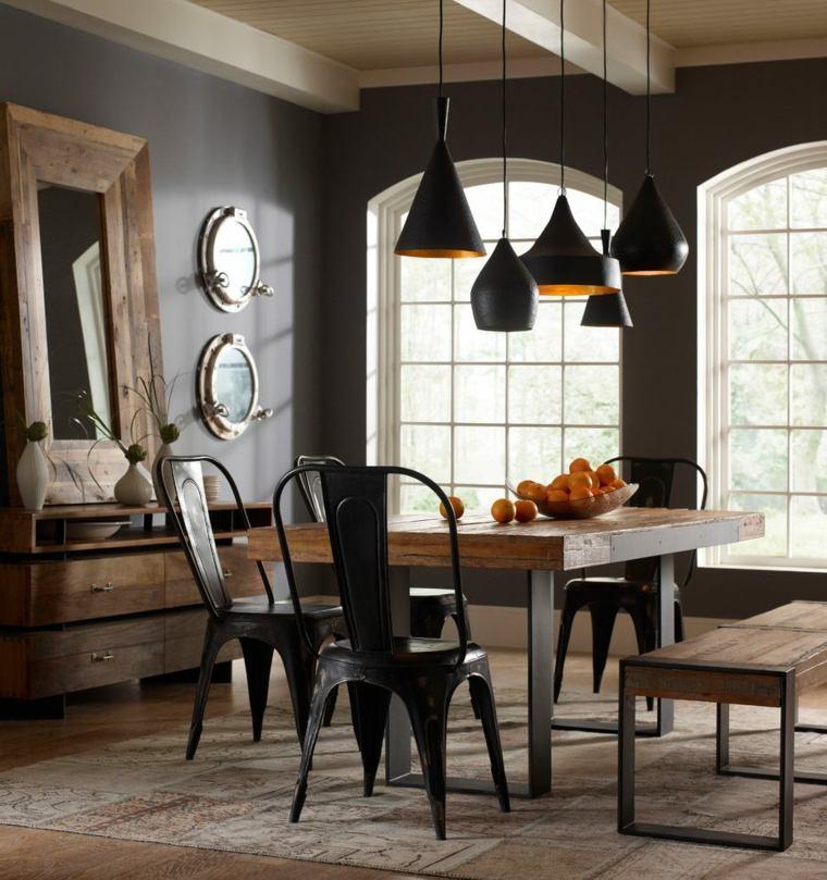 mesa madera acento rustico comedor industrial ideas