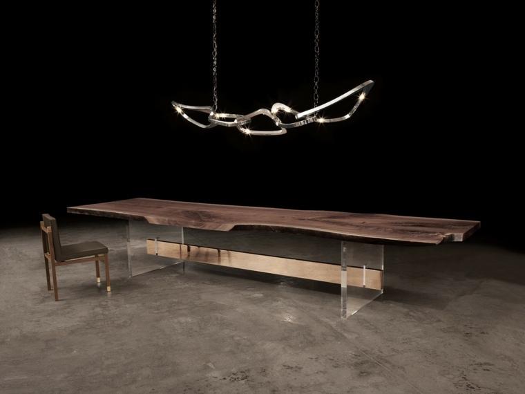 mesa madera acento rustico comedor lampara diseno ideas