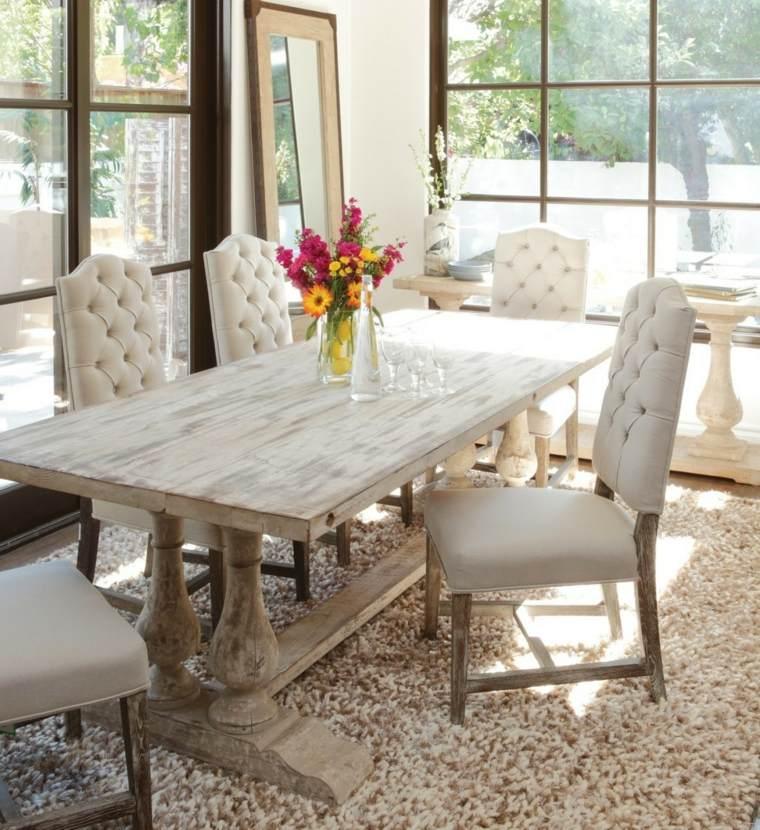 mesas madera acento rustico comedor luminoso ideas