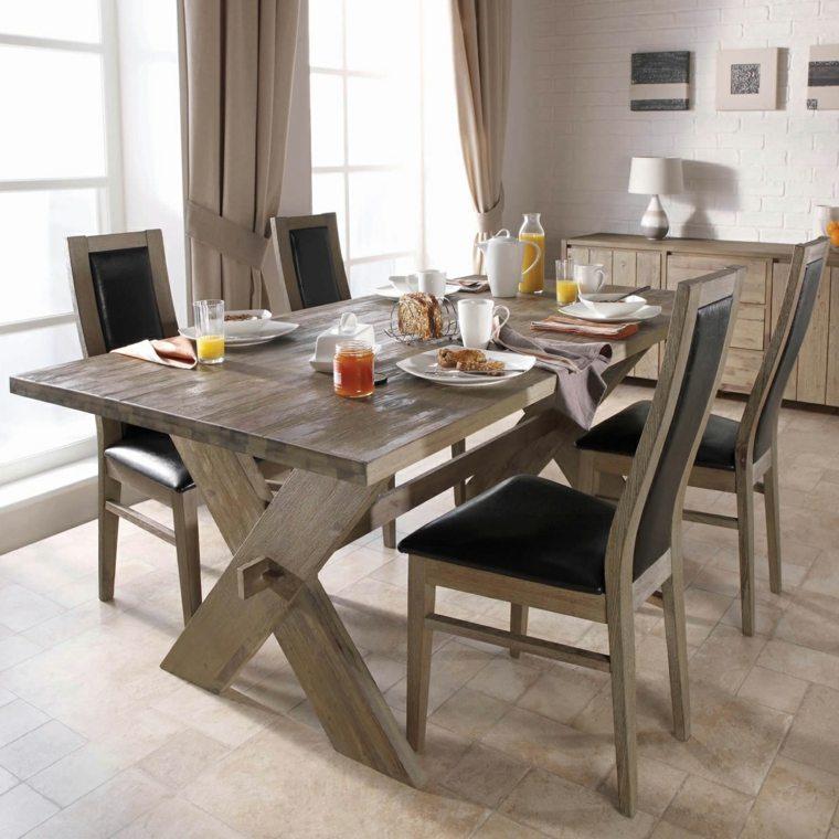 mesas madera acento rustico comedor madera color gris ideas